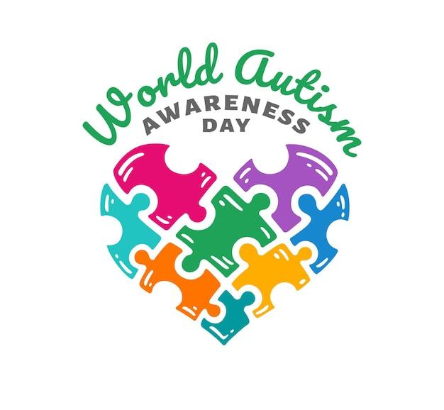 Illustrazione disegnata a mano di giorno di consapevolezza dell'autismo del mondo di scarabocchio con i pezzi di puzzle nella forma del cuore di amore
