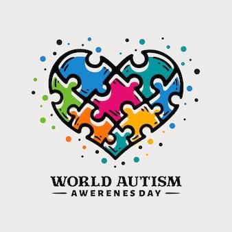 Giornata mondiale di sensibilizzazione sull'autismo disegnata a mano di doodle con forma di cuore di pezzi di puzzle