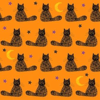 Fondo senza cuciture di halloween fatto a mano di doodle con le stelle, la luna e il gatto nero. copertina grafica semplice disegnata a mano. illustrazione divertente del fumetto.