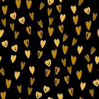 Reticolo senza giunte disegnato a mano dei cuori di doodle. texture di sfondo moderna per carta da imballaggio, design tessile e carta da parati. illustrazione vettoriale