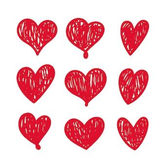 Insieme dei cuori di doodle isolato su priorità bassa bianca. elementi di disegno del cuore di amore disegnato a mano di vettore. oggetti clipart per la decorazione.