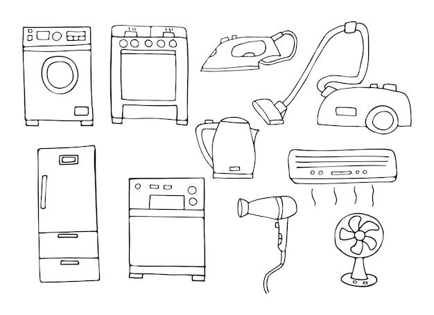 Doodle collezione di icone di elettrodomestici nel vettore. set di icone di elettrodomestici disegnate a mano.