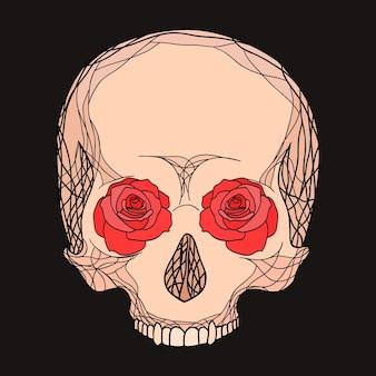 Doodle illustrazione di un teschio umano con rose per la tua creatività