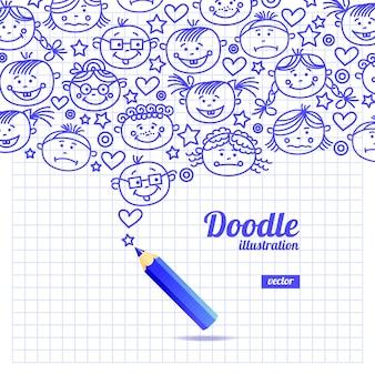 Doodle disegno del fumetto del bambino