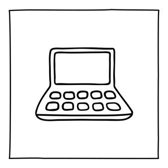 Icona o logo del laptop scarabocchiato, disegnato a mano con una sottile linea nera. isolato su sfondo bianco. illustrazione vettoriale