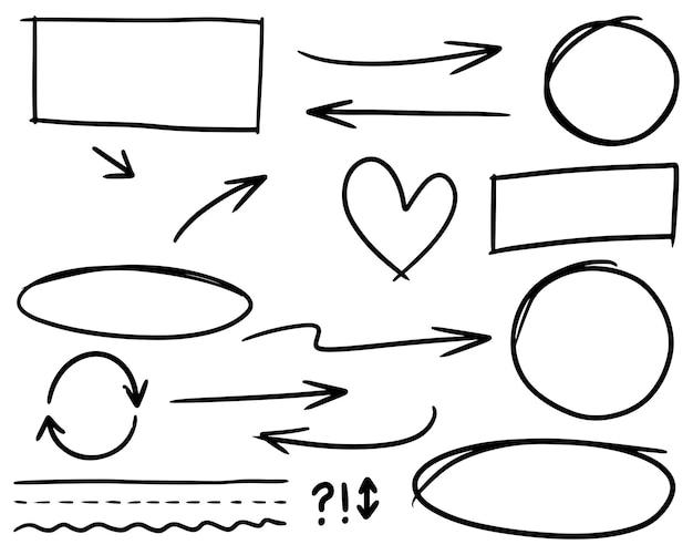 Doodle linee, frecce, cerchi e curve vector.hand disegnati elementi di design isolati su sfondo bianco per una infografica. illustrazione vettoriale.