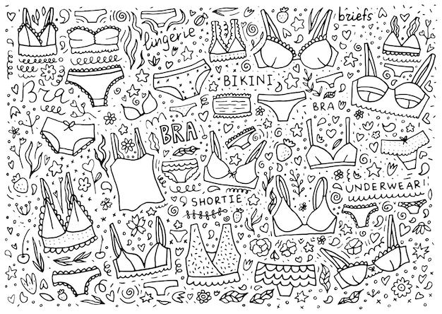 Illustrazione di lingerie doodle con biancheria intima set con diversi tipi di mutande e reggiseni illustrazione disegnata a mano di contorno