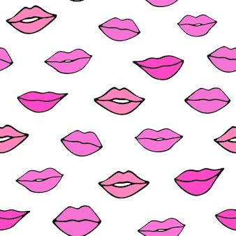 Doodle labbra modello senza cucitureillustrazione disegnata a mano di labbra rosa per san valentino 14 febbraio