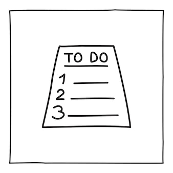 Scarabocchiare l'icona o il logo della lista delle cose da fare, disegnata a mano con una sottile linea nera. isolato su sfondo bianco. illustrazione vettoriale