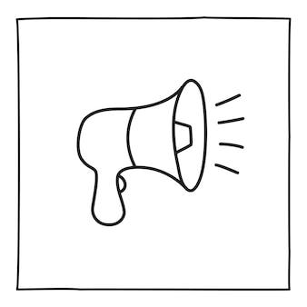 Doodle icona o logo dell'altoparlante, disegnato a mano con una sottile linea nera. isolato su sfondo bianco. illustrazione vettoriale