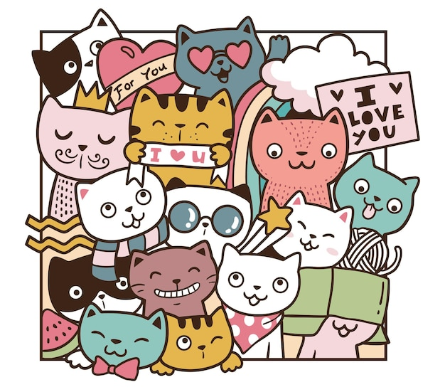 Doodle amore gatti
