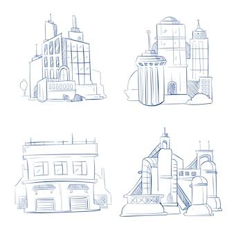 Doodle moderno ufficio affari