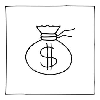 Doodle icona o logo della borsa dei soldi, disegnata a mano con una sottile linea nera.