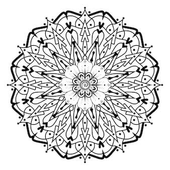 Doodle modello mandala pizzo monocromatico