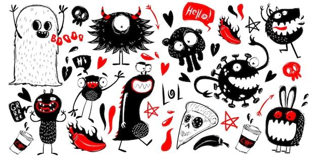 Caratteri dei mostri di doodle su priorità bassa bianca