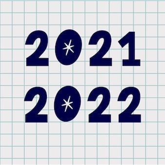 Numeri di doodle. inchiostro di capodanno disegnato a mano 2021 e 2022