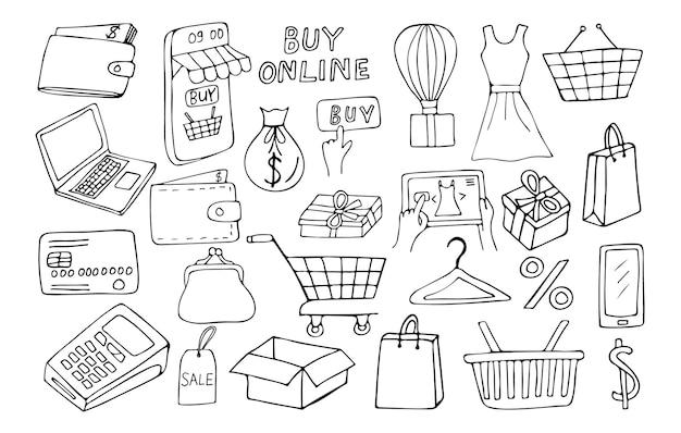 Doodle collezione di icone dello shopping online nel vettore. collezione di icone scarabocchi e-commerce
