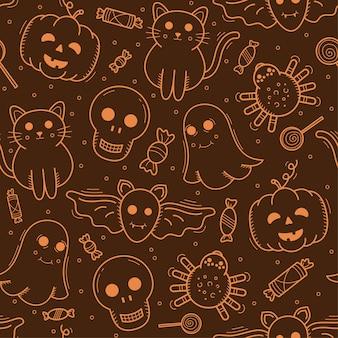Reticolo senza giunte degli elementi di halloween di vettore arancione di doodle.