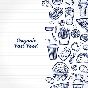 Doodle elementi di fast food biologico su una pagina del taccuino. stile disegnato a mano