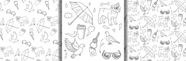 Doodle set di oggetti all'aperto e modelli senza soluzione di continuità