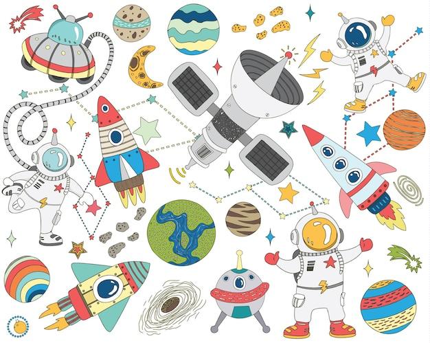 Illustrazione della raccolta dello spazio esterno di doodle