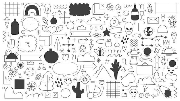 Elementi di contorno doodle isolati su bianco