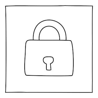 Doodle icona o logo del lucchetto, disegnato a mano con una sottile linea nera. elemento di design grafico isolato su sfondo bianco. illustrazione vettoriale
