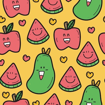 Doodle design pattern di vari frutti