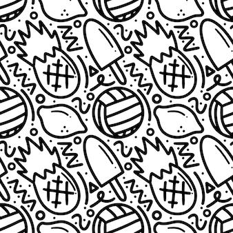 Modello di doodle di gelato disegnato a mano e frutta con icone ed elementi di design