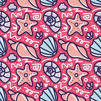 Doodle modello di animali marini disegno a mano con icone ed elementi di design