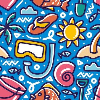 Modello scarabocchio del disegno della mano di vacanza di mare con icone ed elementi di design