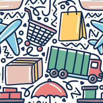 Modello di doodle di disegno a mano di spedizione con icone ed elementi di design