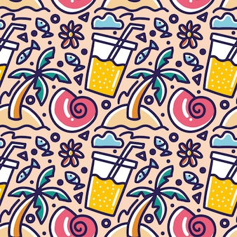 Modello di doodle di vacanze estive sul disegno a mano spiaggia con icone ed elementi di design