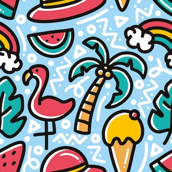 Scarabocchio modello di vacanza estiva sul disegno a mano spiaggia con icone ed elementi di design