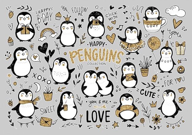 Pinguini di doodle, insieme disegnato a mano di animali divertenti. personaggio pinguino in stile schizzo.