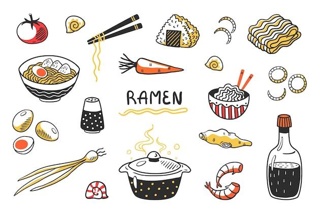 Doodle ramen. zuppa di noodle disegnata a mano cinese con ciotole e ingredienti di bastoncini di cibo. schizzo di cibo asiatico impostato con pasta all'uovo e altri prodotti da cucina