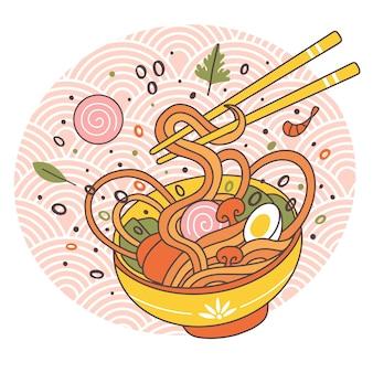 Doodle ramen noodles ciotola cucina tradizionale giapponese orientale. disegnato a mano brodo di carne gustoso ramen noodle piatto illustrazione vettoriale. ciotola di ramen di cibo asiatico con uova e funghi, bacchette