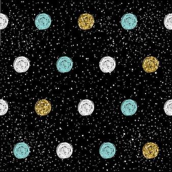 Fondo senza cuciture rotondo di doodle. disegnato a mano rotondo isolato su nero per carta di design, tessuto, carta da regalo per le vacanze, indumento, t-shirt, banner, cartellone, libro, album. texture oro