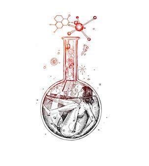 Scarabocchio di una donna scienziata con un vetro chimico che legge la reazione chimica hand draw sketch