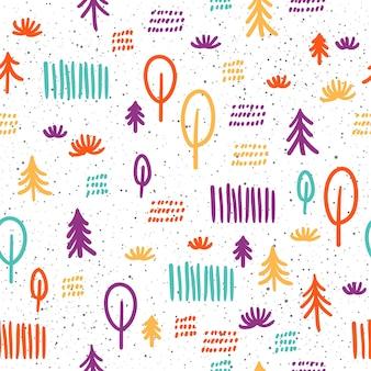 Fondo senza cuciture di scarabocchio. modello astratto viola, verde, giallo, arancione per carta di design, carta da parati, album, album, carta da regalo, tessuto, indumento, design di t-shirt