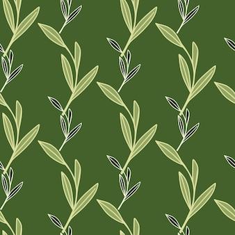 Doodle seamless con contorno decorativo foglia rami fogliame ornamento