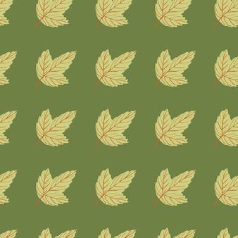 Doodle seamless pattern con sagome di foglia. opera d'arte floreale tavolozza verde. stampa della natura. illustrazione vettoriale.