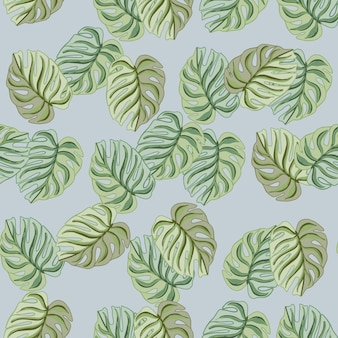 Reticolo senza giunte di doodle con stampa di sagome di monstera verde astratto casuale. sfondo blu. illustrazione vettoriale per stampe tessili stagionali, tessuti, striscioni, fondali e sfondi.