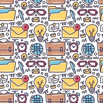 Insieme di doodle di bussiness strumenti disegno a mano con icone ed elementi di design