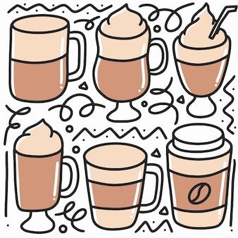 Insieme di doodle del disegno della mano delle tazze di caffè con le icone e gli elementi di design