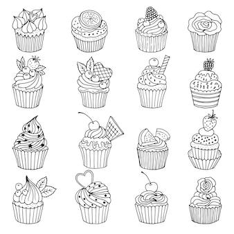 Insieme di doodle di cupcakes. le illustrazioni disegnate a mano isolano su bianco. doodle di cupcake disegnati a mano, collezione di torte dolci
