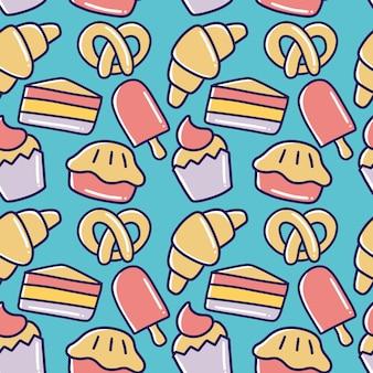 Insieme di doodle di disegno a mano di cibo da dessert con icone ed elementi di design