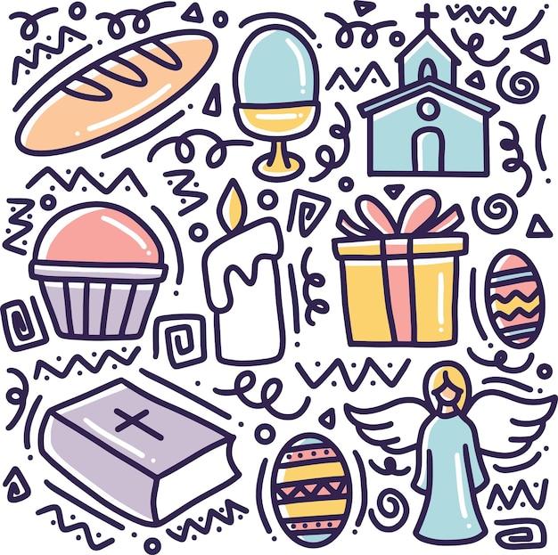 Insieme di doodle del disegno a mano di raccolta di simboli tradizionali di pasqua con icone ed elementi di design