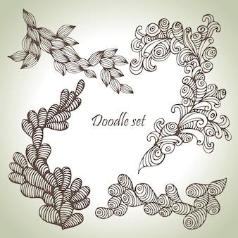 Insieme di scarabocchi. illustrazioni floreali astratte disegnate a mano