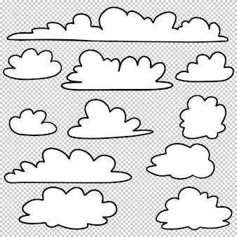 Doodle set di nuvole disegnate a mano isolate per il concept design. illustrazione vettoriale.